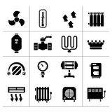 Set icons of heating. Isolated on white vector illustration