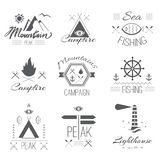 Set of icons on a hike in the mystical retro style Stock Images