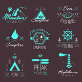 Set of icons on a hike in the mystical retro style Royalty Free Stock Images