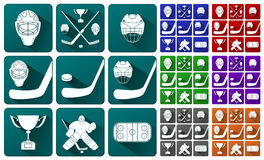 Set of icons on a hockey theme Royalty Free Stock Photography