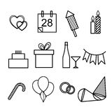 Set of icons for the holidays. Vector outline illustration set of icons for the holidays, New Year, weddings, birthdays and Christmas. A simple form of black-and Stock Images