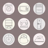 Set of icons of home appliances. Icons appliances for kitchen, cleaning and sewing. Royalty Free Stock Photography