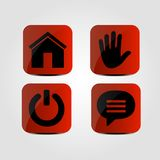 Set of icons - Home, Hand, Power and Message icons. Vector Royalty Free Stock Photo