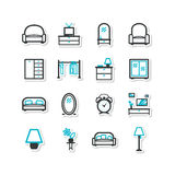 Set of icons - a home interior, drawing room. Royalty Free Stock Photography