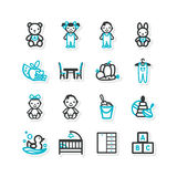Set of icons - a home interior, nursery, children Stock Photos