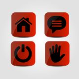 Set of icons - Home, Message, Power and Hand icons. Vector illustration Royalty Free Stock Photos