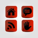 Set of icons - Home, Message, Wi-Fi and Hand icons. Vector illustration Royalty Free Stock Image