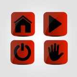 Set of icons - Home, Multimedia, Power and Hand icons. Vector Stock Images