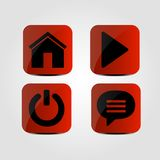 Set of icons - Home, Multimedia, Power and Message icons. Vector vector illustration