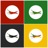 Set of Icons Hot Chili Pepper Stock Photos
