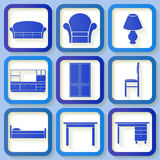 Set of 9 icons of house furniture Royalty Free Stock Photos