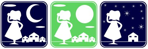 Set of icons with house and stylized housewife Royalty Free Stock Photography