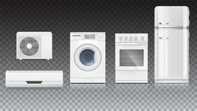 Set icons of household appliances on a transparent background. Air conditioning, washing machine, gas hob and white Stock Photos