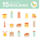 Set of icons of houses. City set of icons of houses Stock Image