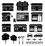 Set of icons of houses and shops Royalty Free Stock Photography