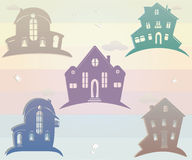 Set of icons houses. Vector illustration. Silhouette Royalty Free Stock Photo