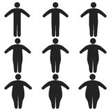 Set of icons human thick, thin, fat, body size, degree of obesity, vector of the proportions of the body from thin to fat. The concept of losing weight Royalty Free Stock Photos