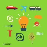 Set icons illustrating journey from idea Royalty Free Stock Images