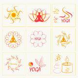 Set of icons, illustrations and logos on the theme of yoga. Gold Royalty Free Stock Photos