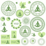 Set of icons, illustrations and logos on the theme of yoga Stock Image