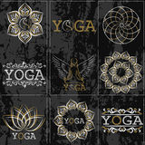Set of icons, illustrations and logos on the theme of yoga.  Stock Image