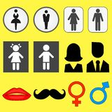 Set of icons of illustrations of male and female symbols royalty free illustration