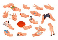 Set of icons, images, with human hands, hold game items. Big set of icons, images, with human playing hands that hold various game items. Concept of vector illustration