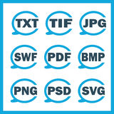 Set of icons indicating the digital formats.  Royalty Free Stock Photo