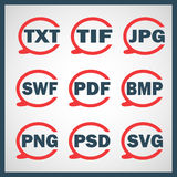 Set of icons indicating the digital formats Stock Photography