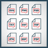 Set of icons indicating the digital formats.  Royalty Free Stock Images