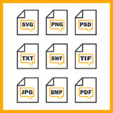 Set of icons indicating the digital formats Royalty Free Stock Image