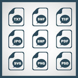 Set of icons indicating the digital formats.  Royalty Free Stock Photography