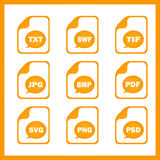 Set of icons indicating the digital formats.  Stock Images