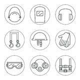 Set of icons of individual protective equipment in construction. Royalty Free Stock Image