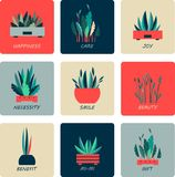 Set of icons of indoor flowers. Vector illustration of round shape icons of indoor flowers gardening Stock Photo