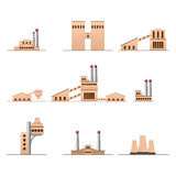 Set of icons Industrial buildings Royalty Free Stock Photo