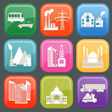 Set of icons infrastructure city. Vector illustration Royalty Free Stock Photos