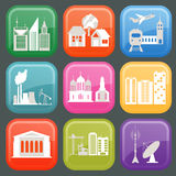 Set of icons infrastructure city. Vector illustration Stock Photos