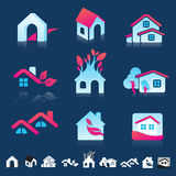 Set of icons with insects silhouettes Stock Photos