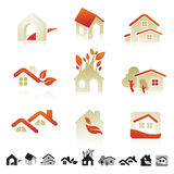 Set of icons with insects silhouettes Royalty Free Stock Image