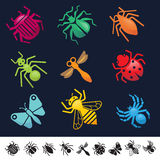 Set of icons with insects silhouettes Royalty Free Stock Photography