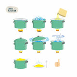 Set  icons for instruction. Infographics Cooking porridge. Stock Photography