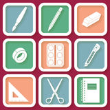 Set of 9 icons of instruments for education Stock Photography