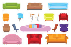 A set of icons for the interior, sofas, chairs, armchairs. Icon Eps10 vector illustration