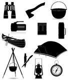Set icons items for outdoor recreation black silho Royalty Free Stock Photos