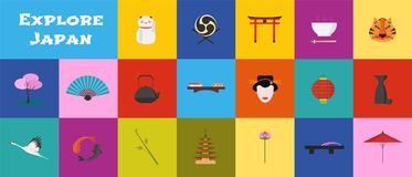 Set of icons with Japan landmarks in vector Royalty Free Stock Photos