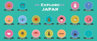 Set of icons with Japanese landmarks, objects, architecture in vector Stock Photography
