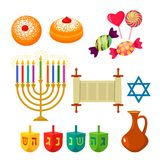 Set of icons for the Jewish holiday of Hanukkah. Traditional symbols of icons - dreidl, sweets, donuts, menorah, Star of David. Flat illustration isolated on