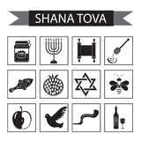 Set icons on the Jewish new year, black silhouette icon, Rosh Hashanah, Shana Tova. Cartoon icons flat style Stock Image