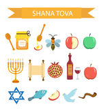 Set icons on the Jewish New Year, Rosh Hashanah, Shana Tova. Cartoon icons flat style.  Stock Image